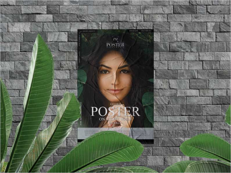 Free-Glued-Poster-on-Stone-Wall-Mockup