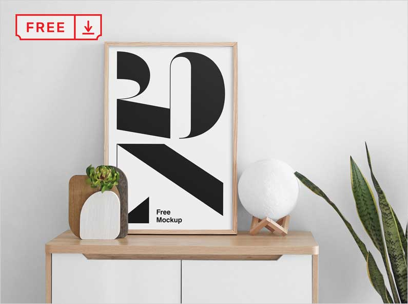 Free-Poster-on-Cabinet-Mockup