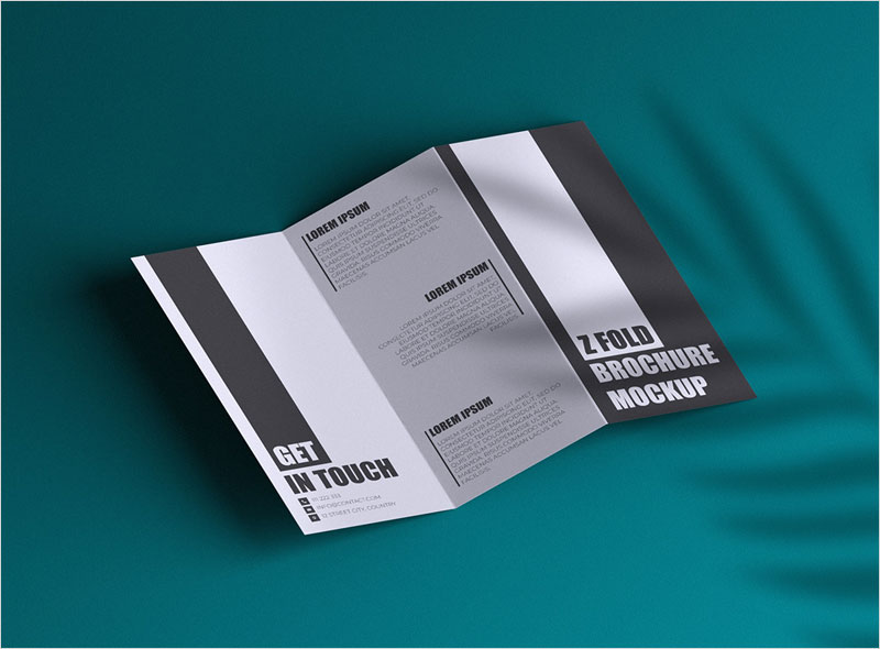 Free-Z-Fold-Brochure-with-Plant-Shadow-Mockup
