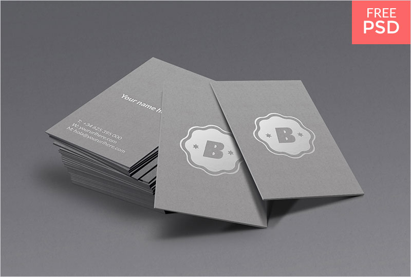 Free-Silver-Business-Card-Mockup
