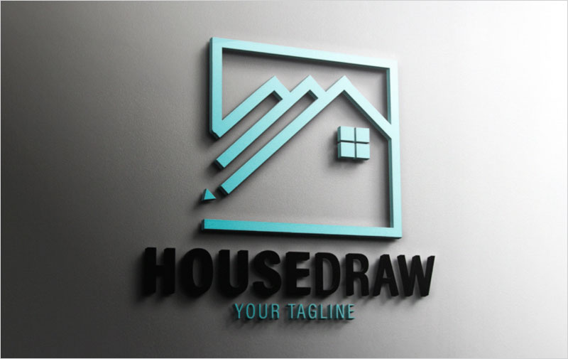 Real-Estate-House-Draw-Logo