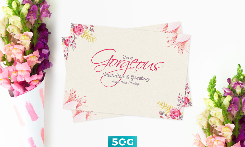 Free gorgeous invitation greeting paper card mockup m4hsunfo