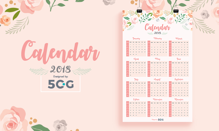 graphic about Printable Calendar on One Page referred to as Cost-free 1 Website page 2018 Printable Wall Calendar Style Template